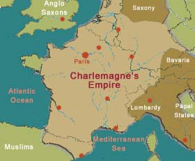 Charlemagne\\\'s Empire Map 800  Charlamagne   The Middle Ages